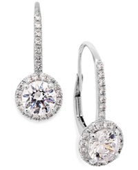 Arabella Cubic Zirconia Leverback Earrings In 14K White Gold 3 Ct. T.W. Clear