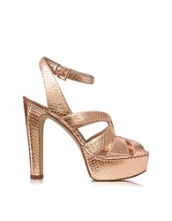 Michael Kors Winona Rose Gold Reptile Printed Leather Platform Sandal Pink