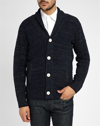 Vicomte A Mottled Grey Navy Cable Knit Woollen Cardigan