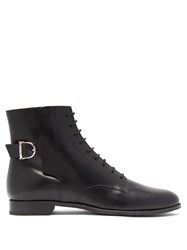 Tod's Buckled Lace Up Leather Ankle Boots Black