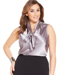 Nine West Plus Size Sleeveless Tie Neck Blouse Platinum