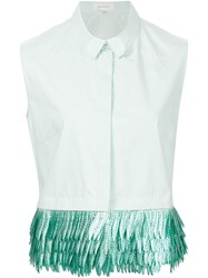 Delpozo Fringed Sleeveless Shirt Green