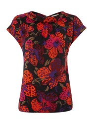 Linea Lily Print Woven Top Multi Coloured