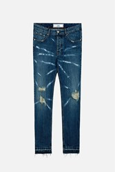 Ami Alexandre Mattiussi Distressed Carrot Fit Jeans Blue