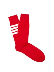 Thom Browne Striped Cotton Socks Red