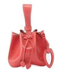 Alaia Rose Marie Small Lizardskin Bucket Bag Pink