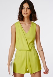 Missguided Shoba Wrap Romper With Ruched Detail