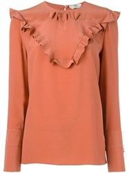 Fendi Ruffle Detail Blouse Yellow Orange