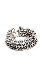 Alexander Wang Ball Chain Curb Chain Stacked Bracelet Silver