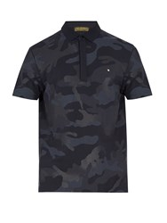 Valentino Camouflage Print Cotton Polo Shirt Navy Multi