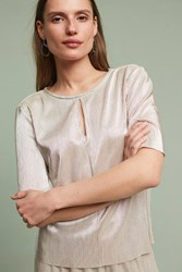 Anthropologie Pleated Metallic Top Gold