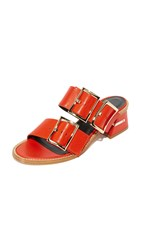 Tibi Kari Sandals Ribbon Red