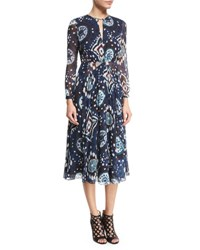 Burberry Long Sleeve Floral Tie Dye Midi Dress Crepon Ink