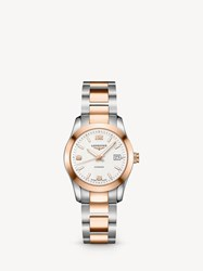 Longines L22855767 'S Conquest Automatic Date Two Tone Bracelet Strap Watch Silver Rose Gold