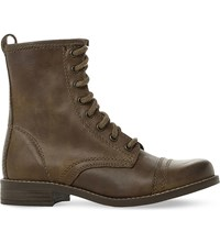 Steve Madden Charrie Leather Biker Boots Green Leather