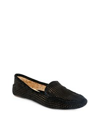 Patricia Green Barrie Perforated Suede Loafers Black