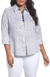 Foxcroft Plus Size Women's Dot Print Wrinkle Free Sateen Shirt