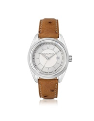 Trussardi Stainlees Steel W Ostrich Leather Strap Women's Watch Silver