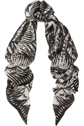 Balmain Printed Modal And Cashmere Blend Scarf Black