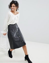 Selected A Line Button Through Leather Skirt Black