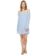 Brigitte Bailey Adelina Off The Shoulder Dress With Buttons Light Blue Women's Dress