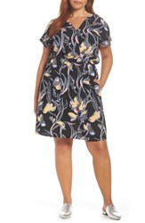 Halogen Faux Wrap Dress Black Yellow Floral