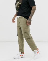 Native Youth Cargo Trousers In Khaki With Tie Hem Green