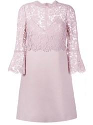 Valentino Lace Crepe Couture Dress Pink And Purple