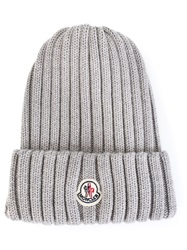 Moncler Ribbed Knit Beanie Grey
