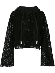 Haculla Cropped Lace See Through Hoodie Black