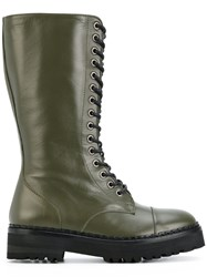 Moschino Lace Up Boots Leather Rubber Green