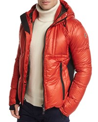 Moncler Baise Hooded Nylon Down Puffer Jacket Red