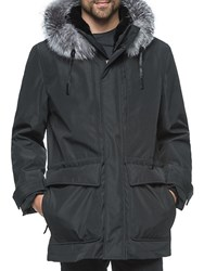 Andrew Marc New York Everest Fox Fur Hood Parka Jacket Black