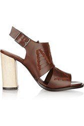 Thakoon Addition Lizzy Suede Trimmed Woven Leather Sandals Brown