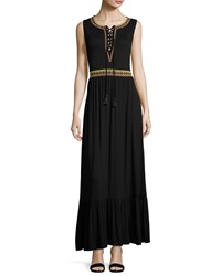Neiman Marcus Lace Up Embroidered Maxi Dress Black