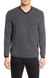 Zachary Prell Men's V Neck Colorblock Merino Wool Pullover Charcoal