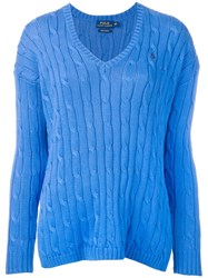 Polo Ralph Lauren Cable Knit V Neck Sweater Blue