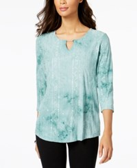 Jm Collection Petite Embellished Keyhole Top Created For Macy's Palm Green