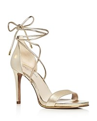Kenneth Cole Berry Metallic Leather Ankle Tie High Heel Sandals Soft Gold