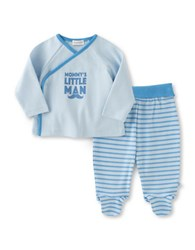 Absorba Two Piece Mommys Little Man Top And Striped Footed Pants Set Blue