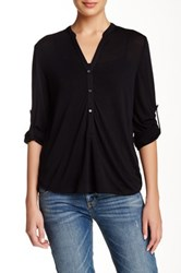 Zoa Roll Up Sleeve Button Placket Blouse Black