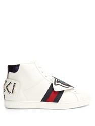 Gucci New Ace High Top Leather Trainers White Multi