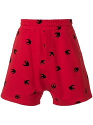 Mcq By Alexander Mcqueen Swallow Print Shorts Red