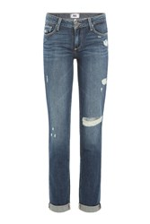 Paige Distressed Straight Leg Jeans Gr. 30