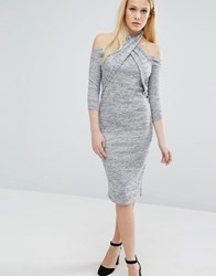 Lost Ink Twist Long Sleeve Halter Detail Dress Grey