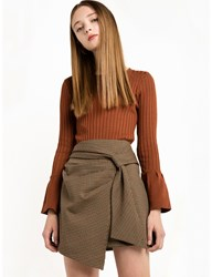 Pixie Market Brown Ribbed Bell Sleeve Knit Top