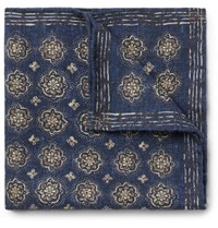 Brunello Cucinelli Printed Wool Pocket Square Navy