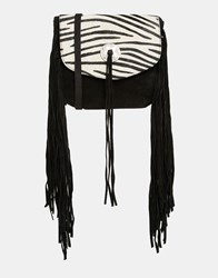 Asos Suede And Tassel Bag With Zebra Faux Pony Flap Multi