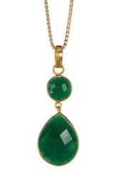 Savvy Cie 18K Yellow Gold Vermeil Dyed Emerald Tear Drop Pendant Necklace Green