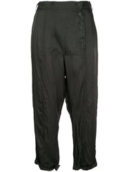 Taylor Cropped Drop Crotch Trousers Black